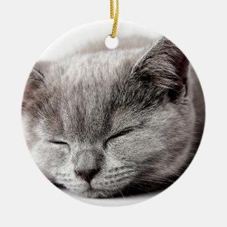 Ornamento De Cerâmica Gatinho sonolento