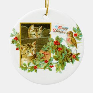 Ornamento De Cerâmica Gatinhos bonitos e natal vintage bonito do pisco