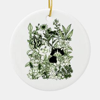 Ornamento De Cerâmica Gatinhos nos Wildflowers