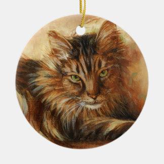 Ornamento De Cerâmica Gato 0005 no travesseiro Onament