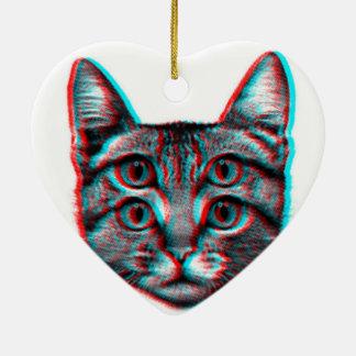 Ornamento De Cerâmica Gato 3d, 3d gato, gato preto e branco