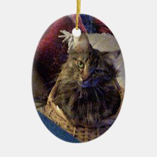 Ornamento De Cerâmica Gato bonito do gatinho do racum de Maine do gato