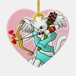 Ornamento De Cerâmica Gato branco do Cupido da neve do dia dos namorados