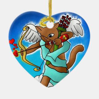 Ornamento De Cerâmica Gato castanho chocolate do Cupido do dia dos