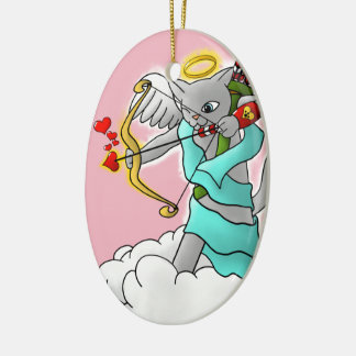 Ornamento De Cerâmica Gato cinzento do Cupido de Smokey do dia dos