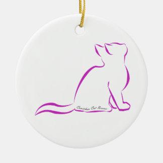 Ornamento De Cerâmica Gato cor-de-rosa, silhueta, texto interno