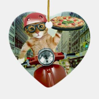 Ornamento De Cerâmica gato da pizza - gato - entrega da pizza