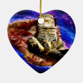 Ornamento De Cerâmica gato da pizza - gato louco - gatos no espaço