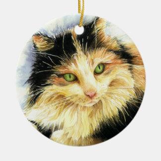 Ornamento De Cerâmica Gato de chita 0010