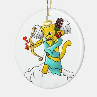 Ornamento De Cerâmica Gato do Cupido do amarelo do gengibre do dia dos