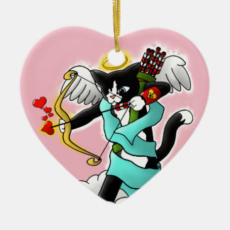 Ornamento De Cerâmica Gato do Cupido do smoking do dia dos namorados