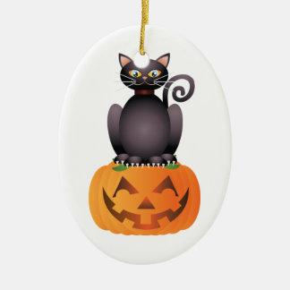 Ornamento De Cerâmica Gato do Dia das Bruxas que senta-se na ilustração