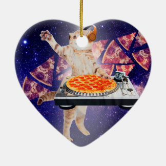 Ornamento De Cerâmica gato do DJ - gato DJ - gato do espaço - pizza do
