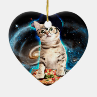 Ornamento De Cerâmica gato do DJ - gato do espaço - pizza do gato -