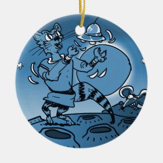 Ornamento De Cerâmica gato do espaço que joga com desenhos animados
