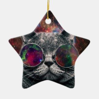 Ornamento De Cerâmica Gato do espaço que veste óculos de proteção na