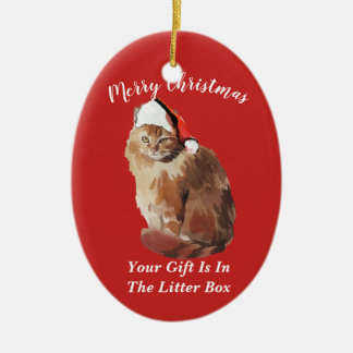 Ornamento De Cerâmica Gato do Feliz Natal