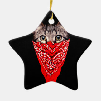 Ornamento De Cerâmica gato do gângster - gato do bandana - grupo do gato