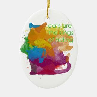 Ornamento De Cerâmica Gato do gatinho da pintura do Splatter
