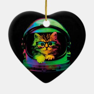 Ornamento De Cerâmica Gato do hipster - astronauta do gato - espace o