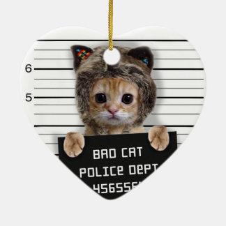 Ornamento De Cerâmica gato do mugshot - gato louco - gatinho - felino