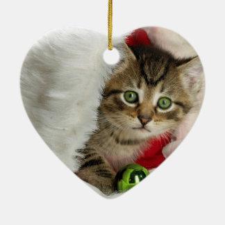 Ornamento De Cerâmica Gato do Natal - gato do gatinho - gatos bonitos