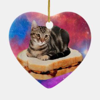 Ornamento De Cerâmica gato do pão - gato do espaço - gatos no espaço