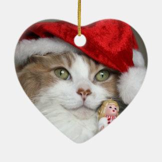 Ornamento De Cerâmica Gato do papai noel - gato do Natal - gatinhos