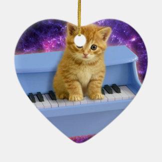 Ornamento De Cerâmica Gato do piano