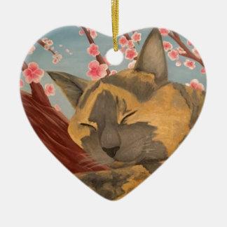 Ornamento De Cerâmica Gato do sono da flor de cerejeira