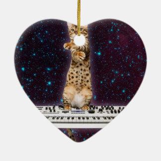 Ornamento De Cerâmica gato do teclado - gatos engraçados - amantes do