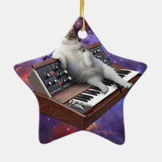 Ornamento De Cerâmica gato do teclado - memes do gato - gato louco