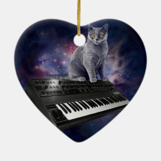 Ornamento De Cerâmica gato do teclado - música do gato - espace o gato