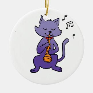 Ornamento De Cerâmica Gato dos desenhos animados que joga a flauta