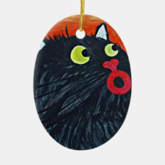 Ornamento De Cerâmica Gato e as moscas