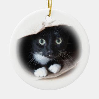 Ornamento De Cerâmica Gato em um saco