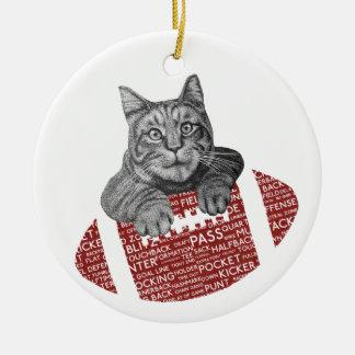 Ornamento De Cerâmica Gato engraçado do futebol americano da tipografia