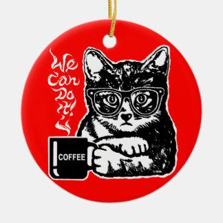 Ornamento De Cerâmica Gato engraçado motivado pelo café