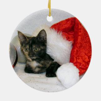Ornamento De Cerâmica Gato, gatinho, Natal, salvamento