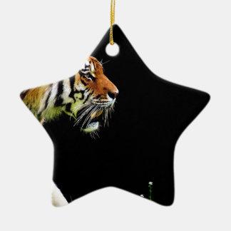 Ornamento De Cerâmica Gato perigoso bonito da pele predadora do tigre
