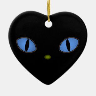 Ornamento De Cerâmica Gato preto com olhos azuis grandes