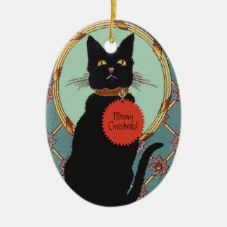 """Ornamento De Cerâmica Gato preto de """"Natal da arte do vintage Meowy """""""