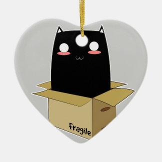 Ornamento De Cerâmica Gato preto em uma caixa