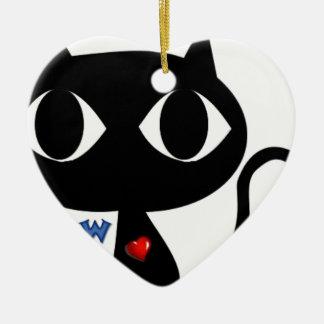 Ornamento De Cerâmica Gato preto Silhouett com coração vermelho e Meow