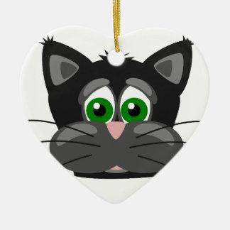 Ornamento De Cerâmica gato preto Verde-eyed