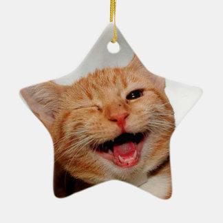 Ornamento De Cerâmica Gato que pisc - gato alaranjado - gatos engraçados