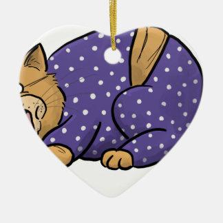 Ornamento De Cerâmica Gato que veste o pijama roxo das bolinhas
