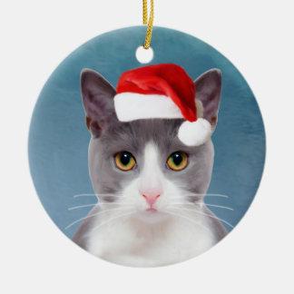Ornamento De Cerâmica Gato que veste o retrato do Natal do chapéu do