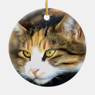 Ornamento De Cerâmica Gato satisfeito