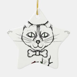 Ornamento De Cerâmica Gato sofisticado
